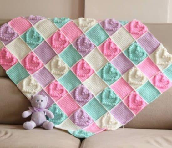 Crochet Bobble Heart Pattern Granny Square Video Tutorial | Colchas ...