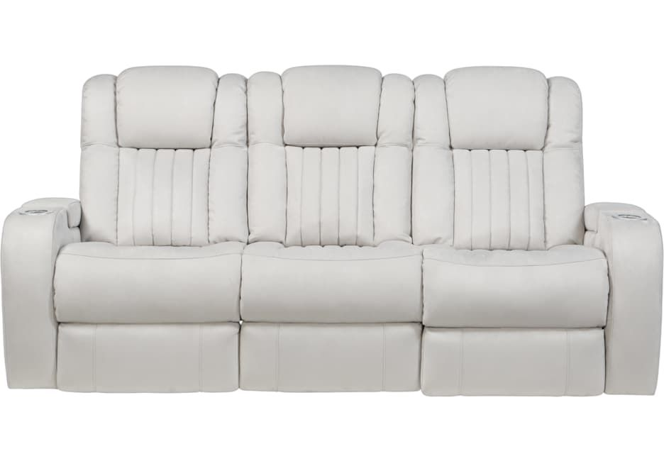 Servillo White Leather Dual Power Reclining Sofa Power Reclining