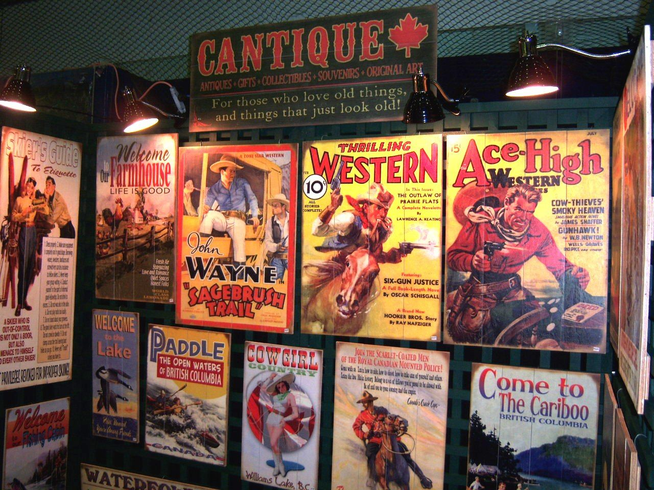 Rustic decor for cabins, cottages, and lake houses featuring old-fashioned road & trail marker signs from Western Canada. Cantique is also the source in Canada for vintage, personalized signs on wood or metal.