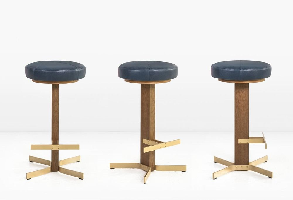 The Walcott Barstool Features A Solid 2 X 4 Black Walnut Post With Solid Brass Base And Footrest Can Be Ordered With Or Without S With Images Bar Stools Stool Furniture