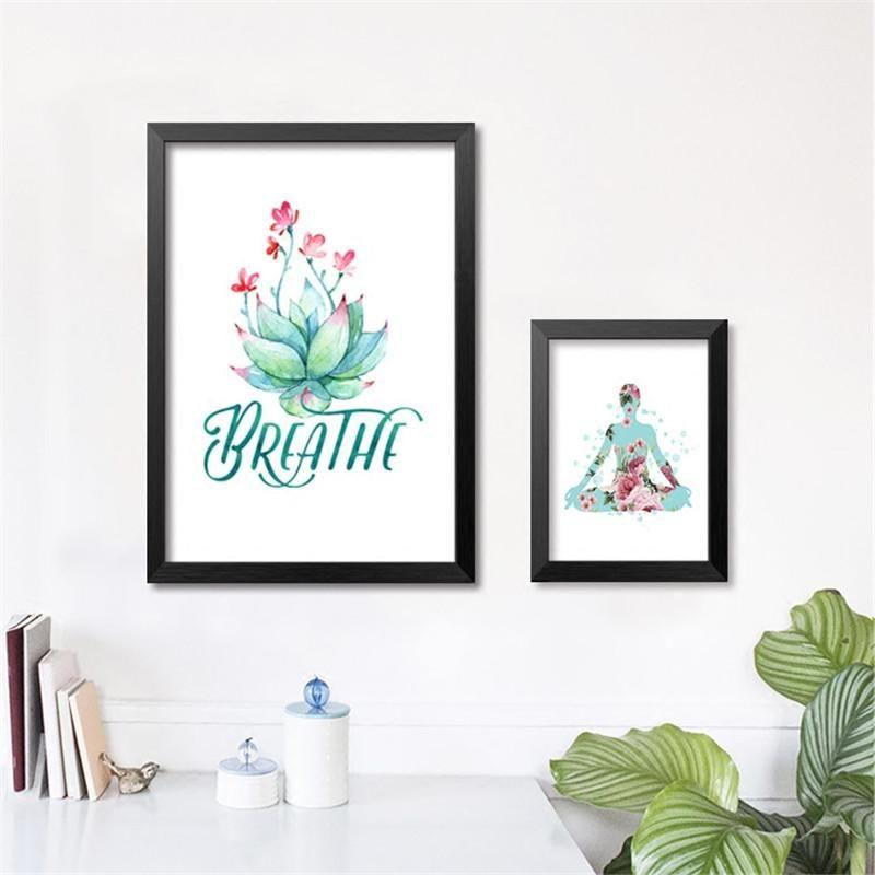 Breathe yoga room fitness canvas art print poster still