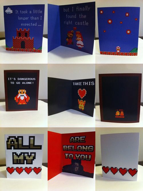 Geeky Valentines Day Cards by PaperRockScisorz the first is – Gamer Valentine Cards