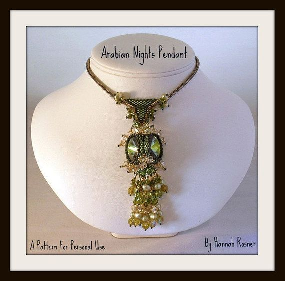 Bead Tutorial Arabian Nights peyote stitch Pendant di HannahRachel