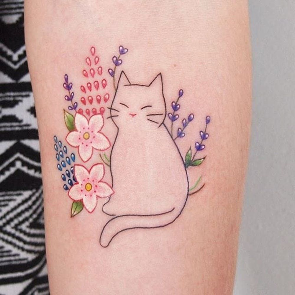 Minimalist Cat And Flowers Tattoo By Jessica Channer Minimalist Linework Cat Illustration Flowers Jessic Cat Tattoo Designs Cute Cat Tattoo Cute Tattoos