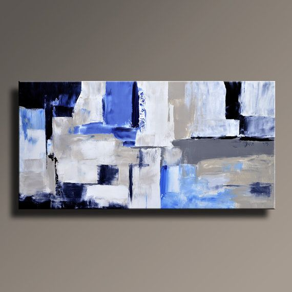 Abstract Painting Black White Blue Gray Painting Original Large