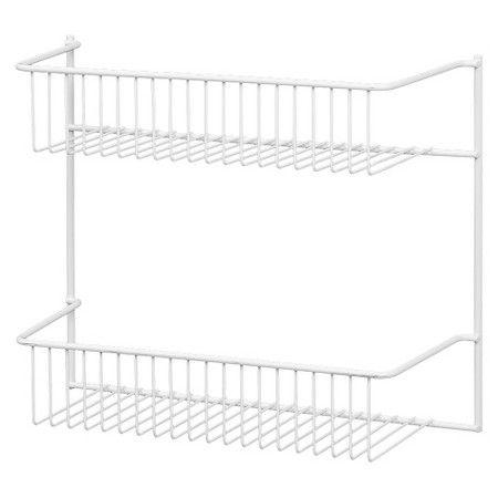 12 in 2 Tier Storage Rack Wire Basket Cabinet Door Wall Organizer Kitchen Closet