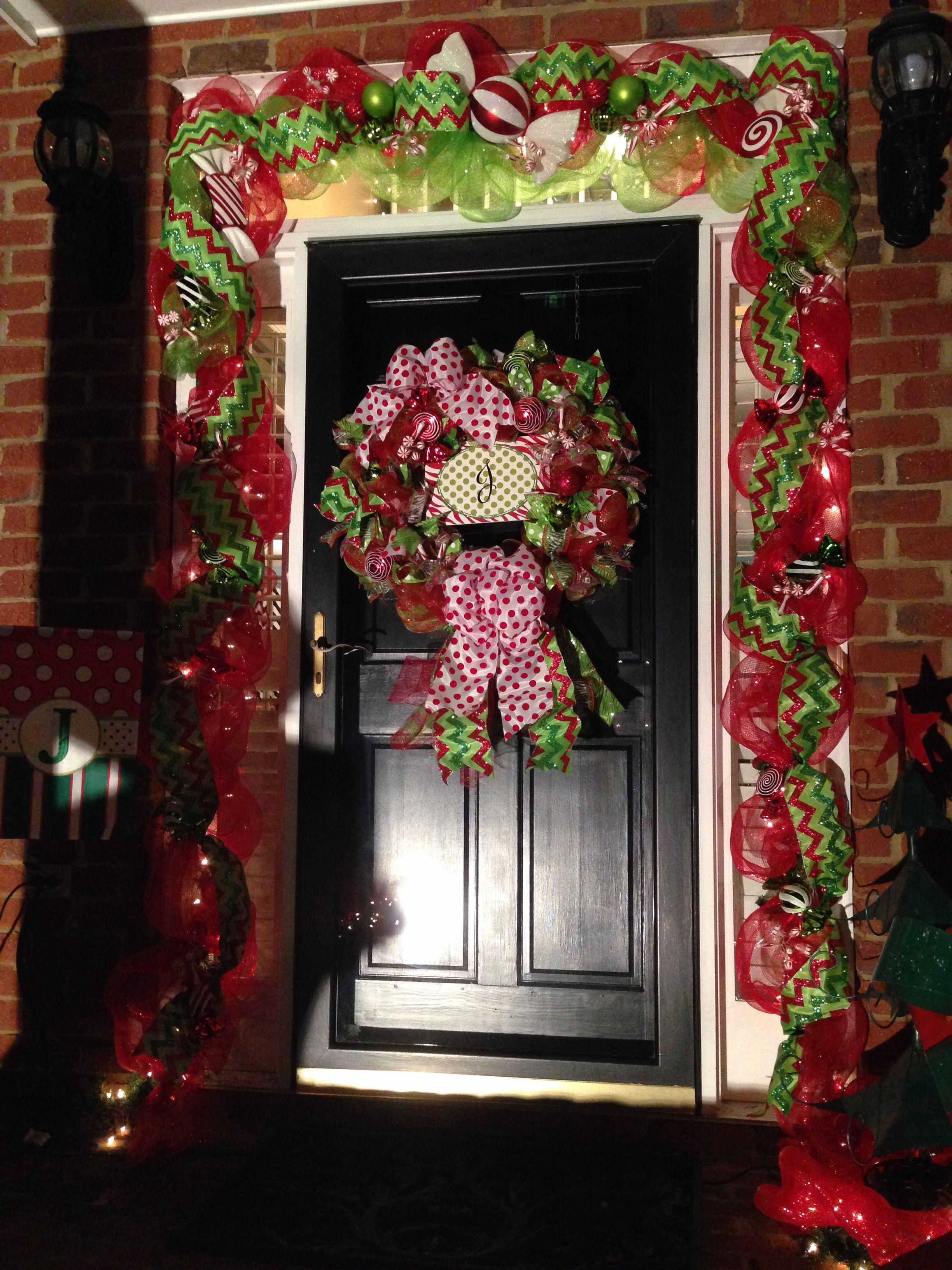 Christmas Mesh Garland Around Front Door By Tjordans