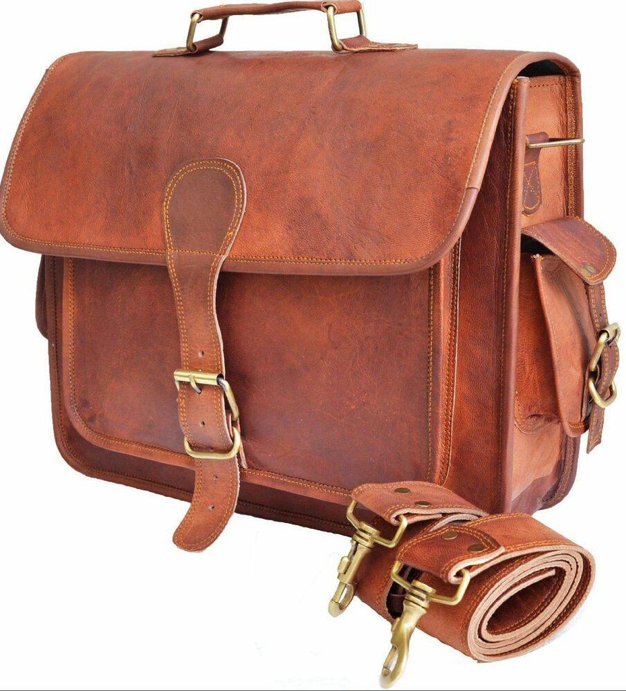 New Men/'s Great Genuine Vintage Leather Messenger Laptop Briefcase Satchel Bag