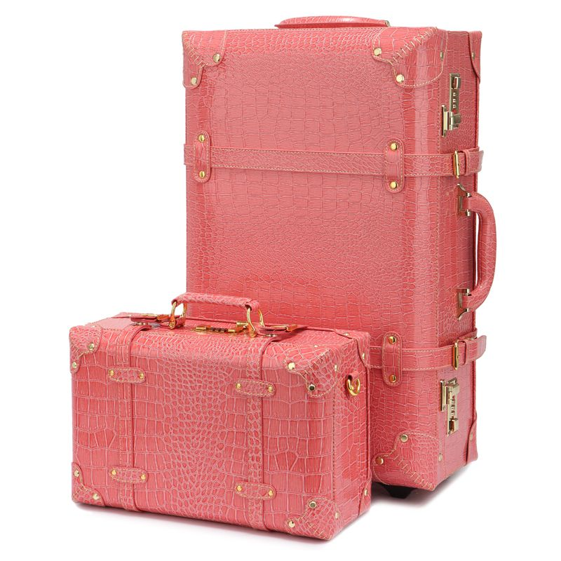 Vintage vintage luggage box travel bag trolley luggage universal ...