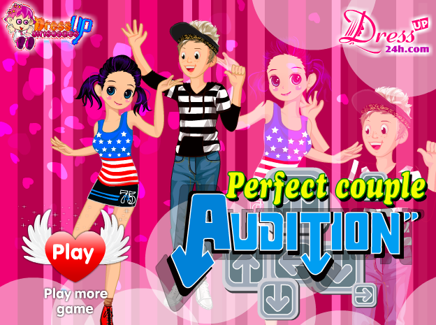 Jane and Jakson won in couple audition competition. They performed professional and attractive dances. Let's join in the lively tunes with the couple in this competition.  ==> http://www.dressup24h.com/game/5879/Perfect-Couple-Audition.html