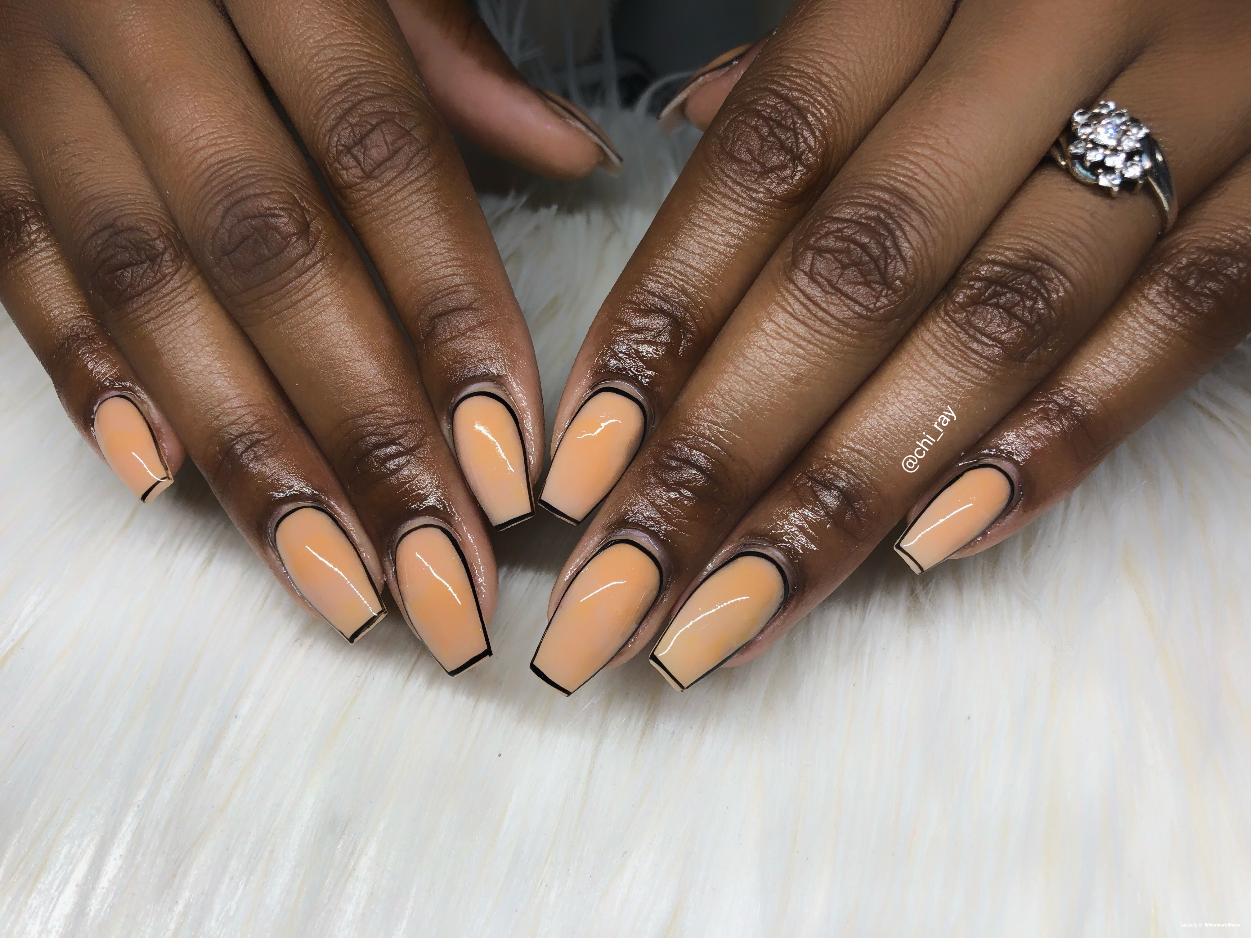 Tan And Black Outline Nails Short Coffin Nails Paintobsessed Glam Short Coffin Nails Coffin Nails Nails
