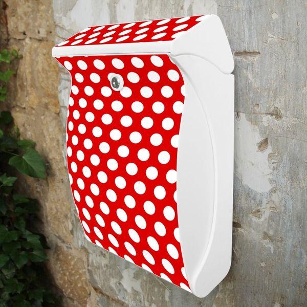 Schöner Burg Wächter Briefkasten Weiß Punkte Rot von banjado via dawanda.com
