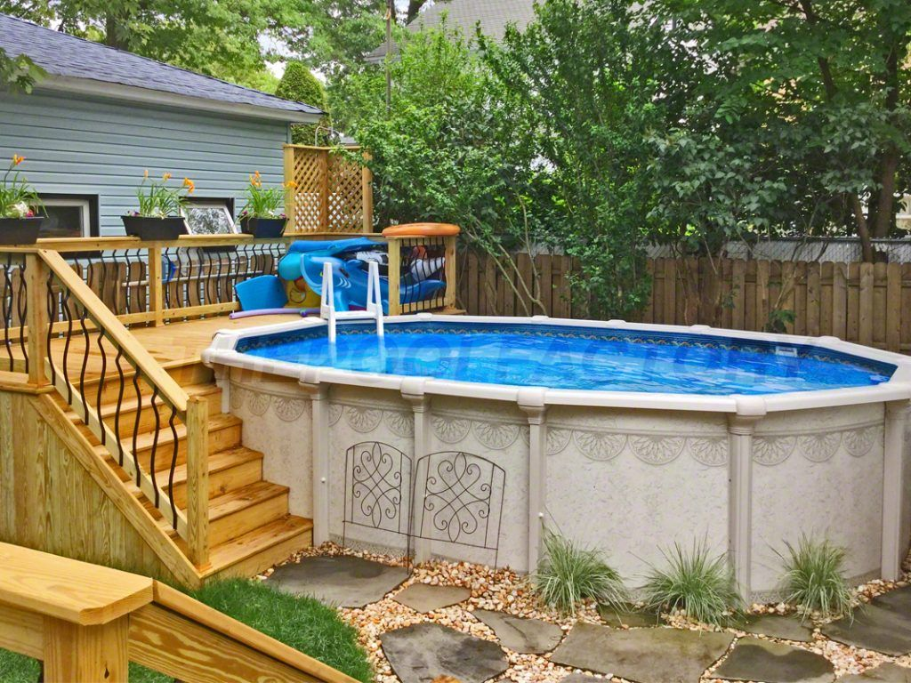 Pool Deck Ideas Partial Deck The Pool Factory Backyard Pool Pool Landscaping Backyard Pool Landscaping