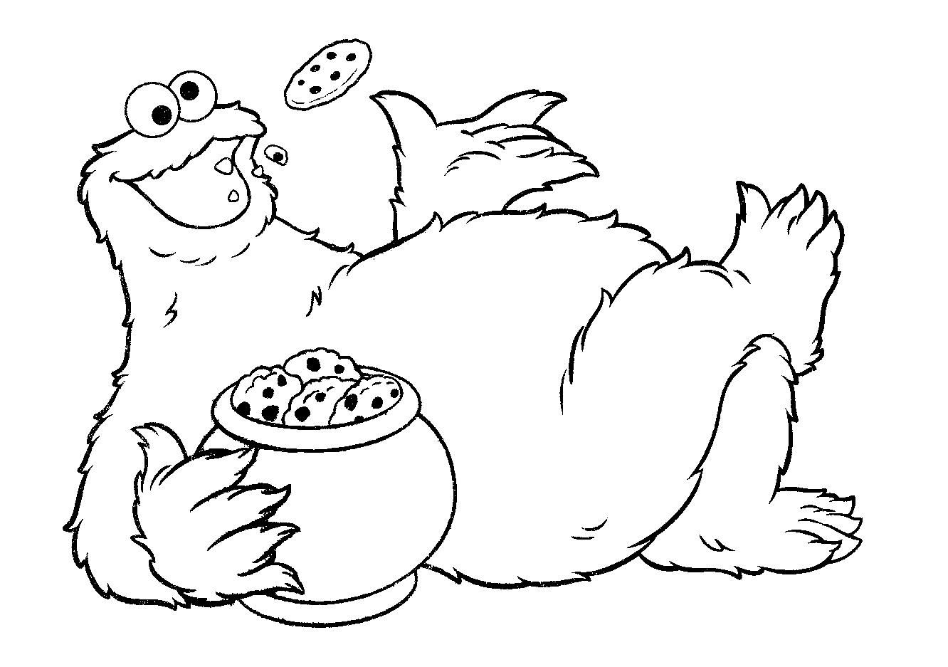 Cookie Monster Cookie Jar Coloring Pages Monster Coloring