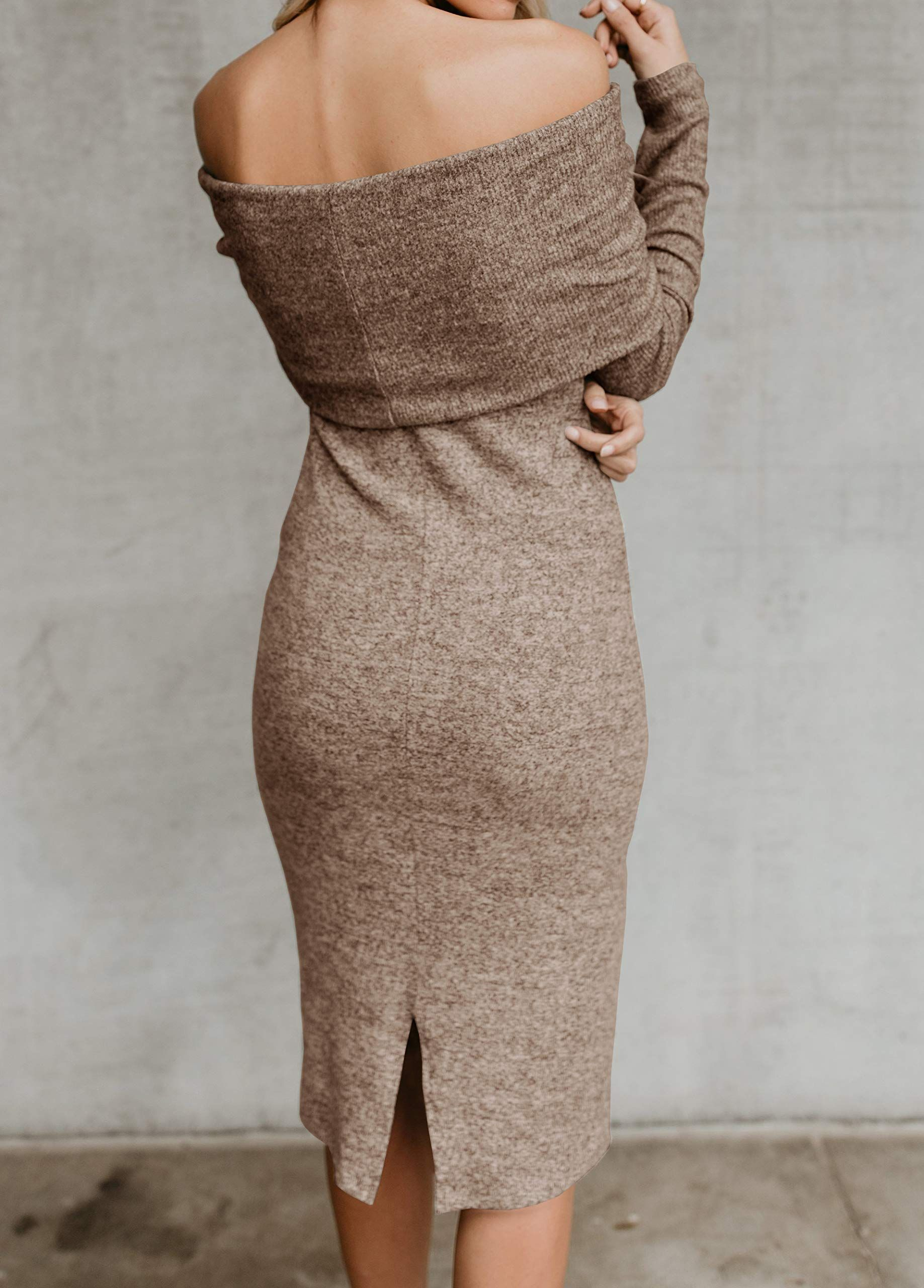 163ce8ba95e FISACE Womens Sexy Off Shoulder Long Sleeve Midi Pencil Bodycon Knitted  Sweater Dress -- To view additionally for this thing