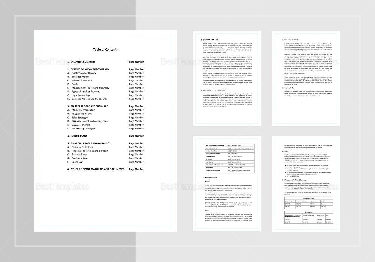 Trucking Business Plan Template Business plan template