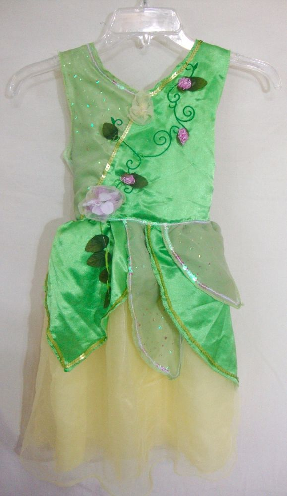 Disney Tinkerbell Costume Fairy Dress Green Sparkle Gown Halloween ...