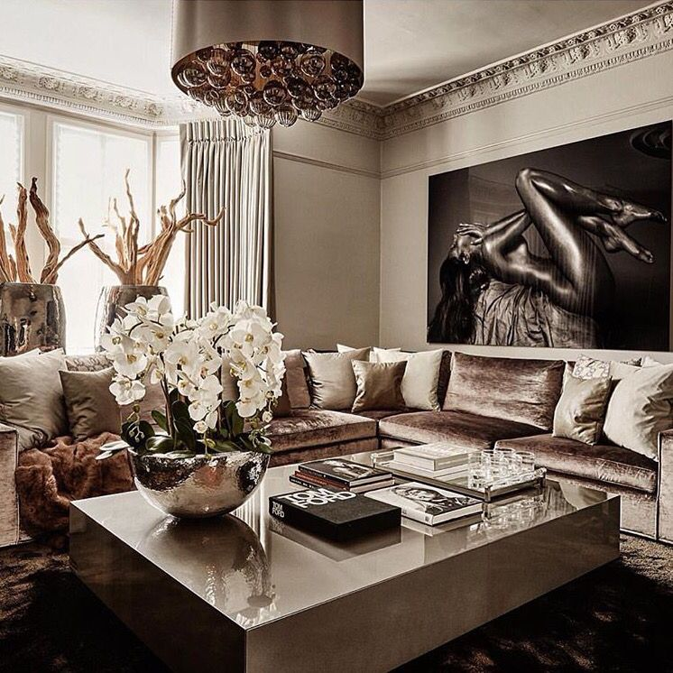 Living Room Ideas Rose Gold, Gold Living Rooms, Glamour Living Room
