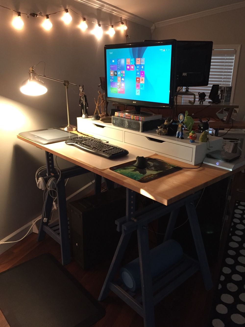 Ikea Hack Standing Desk All Set Up Ekby Shelf With Drawers Gerton Solid Wood Table Top Finnvard Trestle Legs Note T Sewing Table Ikea Home Office Ikea Home