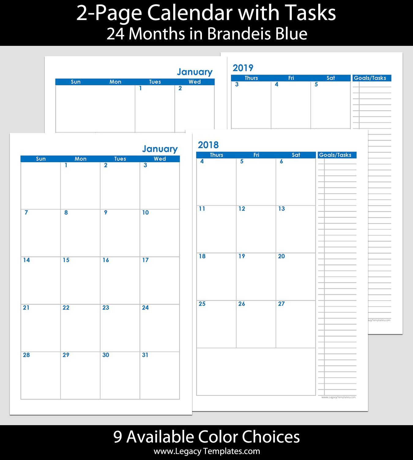 2018 2019 24 Months 2 Page Calendar Printable 2 Page Calendars Available In A Variety Of Colors And Calendar Printables Monthly Calendar Printable Calendar