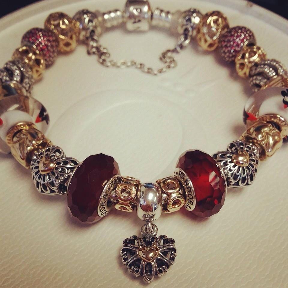 How Much Is A Pandora Charm Bracelet: Pandora Bracelet Silver Gold Red Bijoux Et Charms à