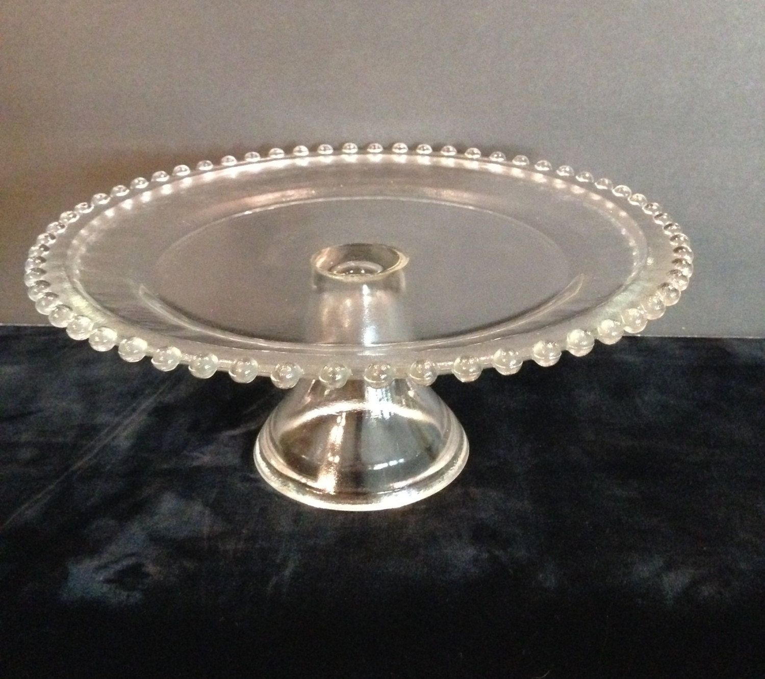 105 inch imperial glass beaded candlewick pedestal cake