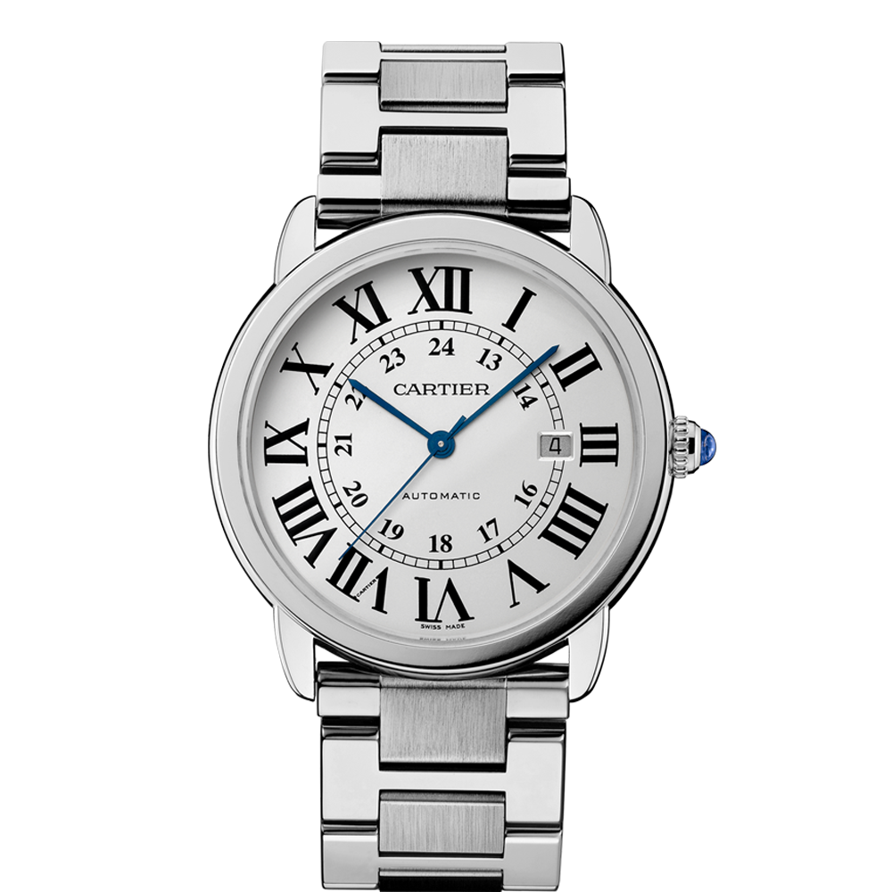 ronde solo de cartier watch extra large model automatic steel cartier men s ronde solo analog display automatic self wind silver watch deal box