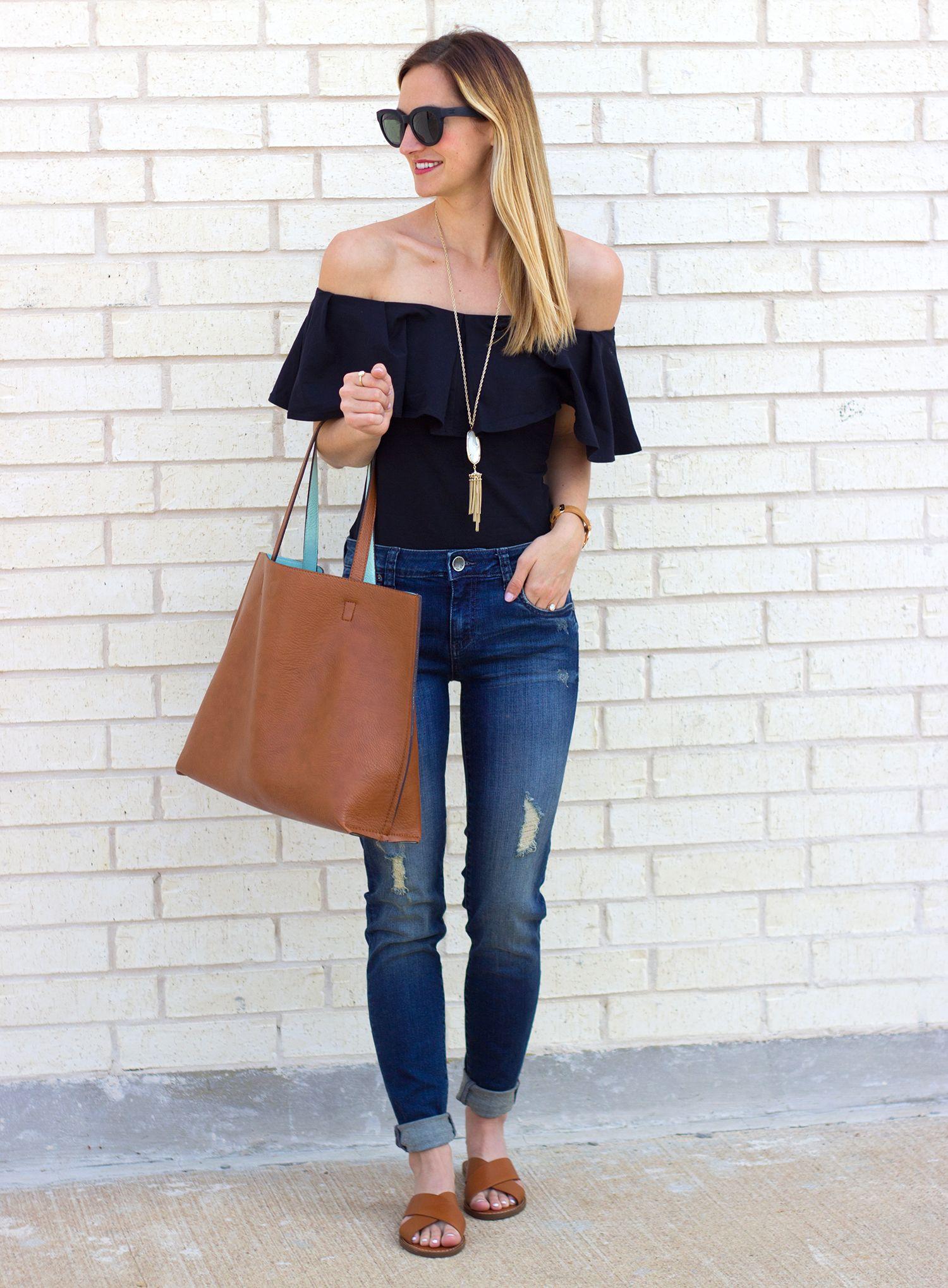 3a6c784049f07d ruffle off the shoulder top + distressed skinny jeans    livvylandblog  LivvyLand