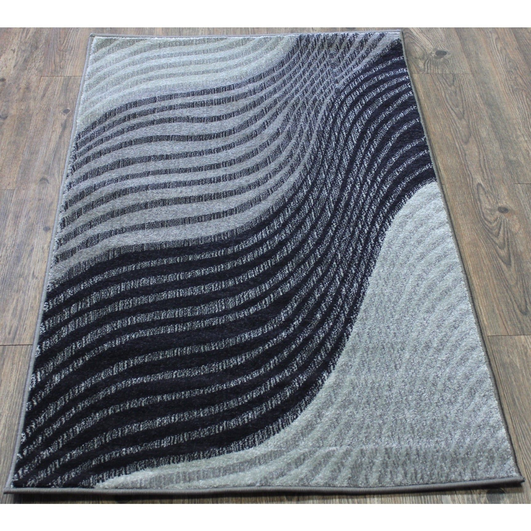 Grey Wave Abstract Area Rug 5 3 X 7 5 Grey Black Rugs For Sale