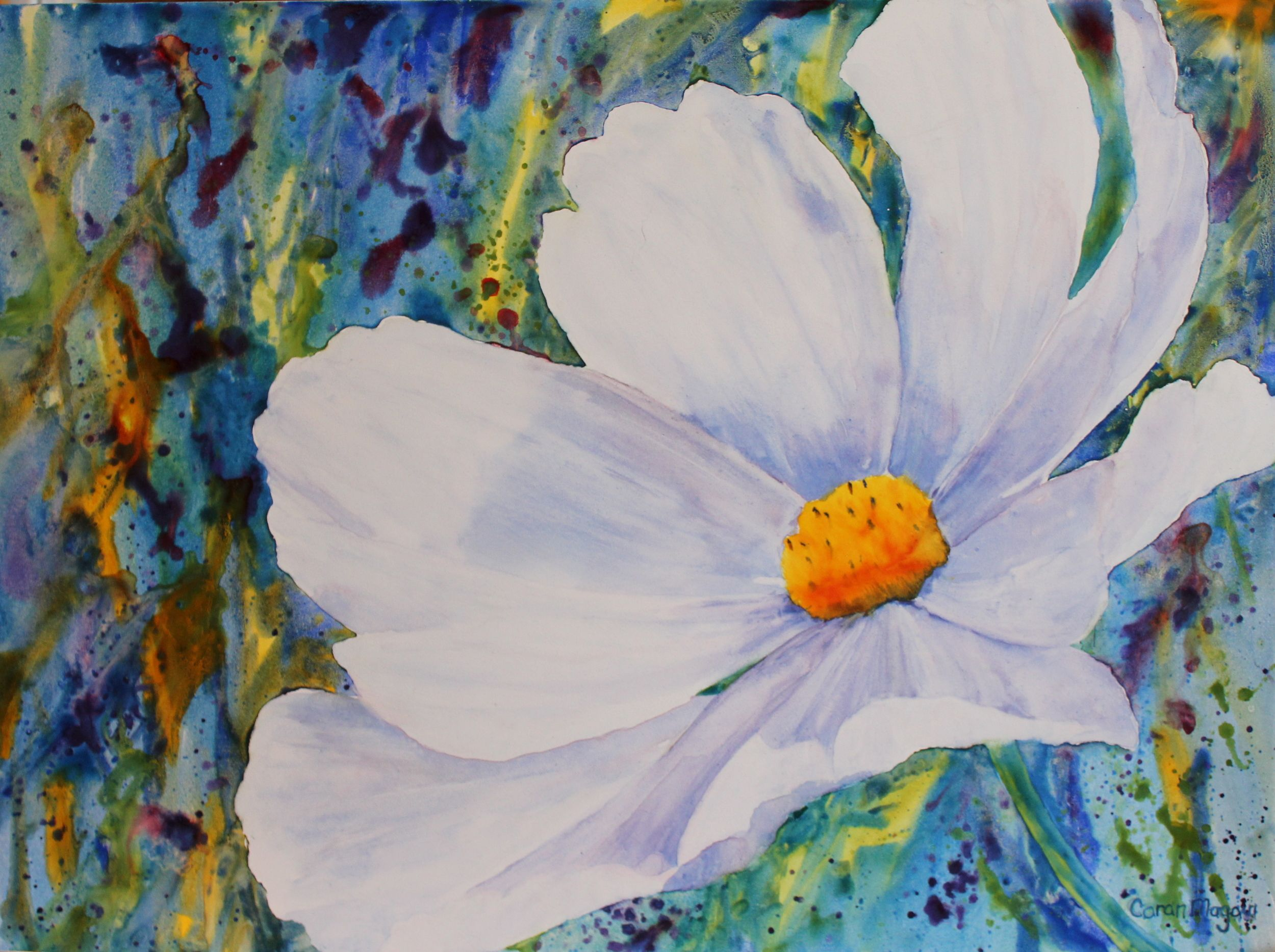 Breezy Cosmos Floral painting, Painting, Garden watercolor