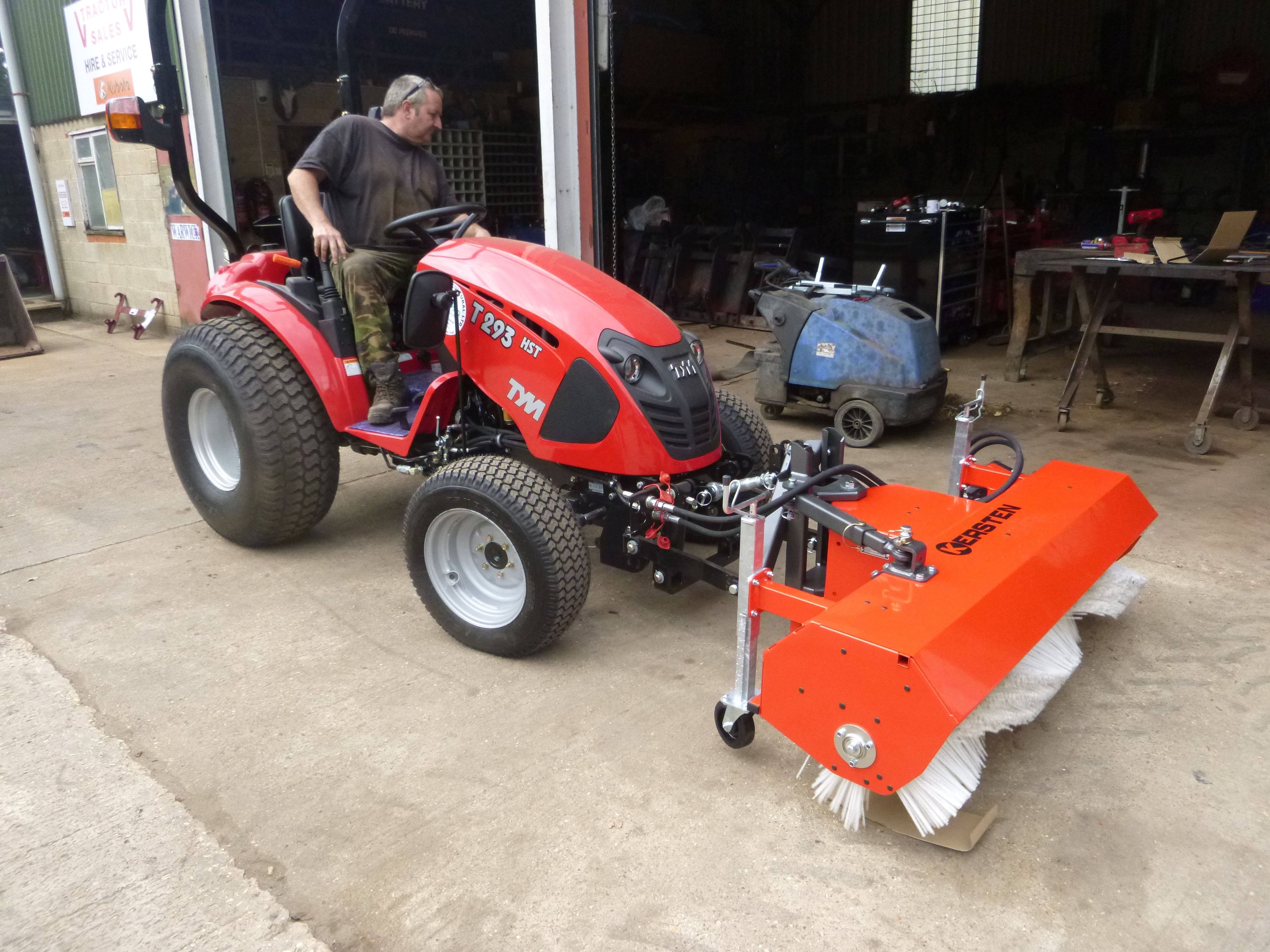 Kersten sweeper on the front of a TYM tractor for sweeping