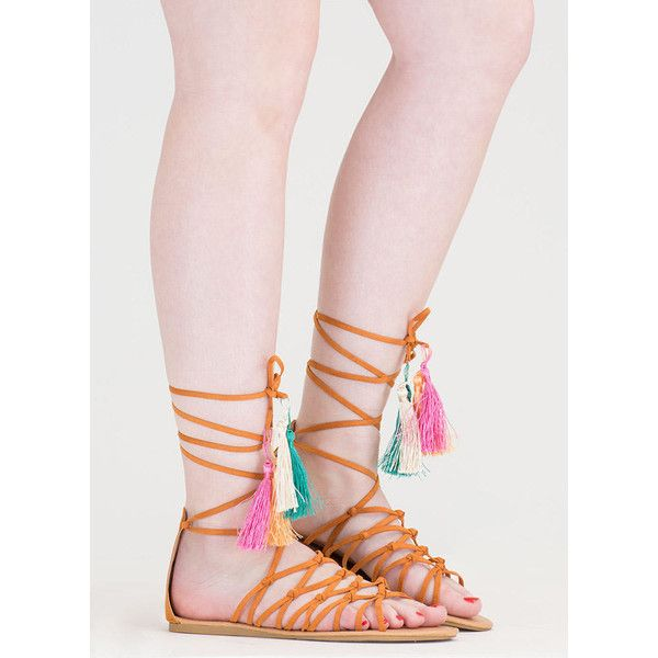 Boho Princess Tasseled Gladiator Sandals ($24) ❤ liked on Polyvore featuring shoes, sandals, tan, tan sandals, roman gladiator sandals, ankle tie gladiator sandals, gladiator sandals and gladiator sandals shoes