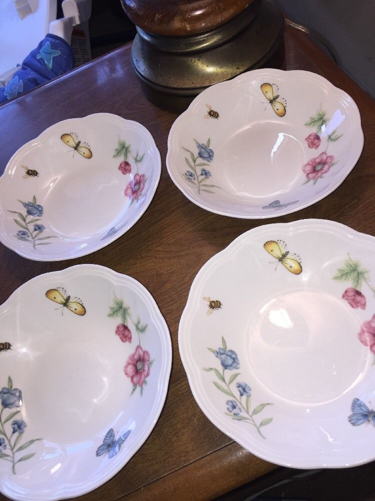 """Lenox BUTTERFLY MEADOW Bowls 6 3/4"""" Scalloped Dessert Fruit Bowls LOT OF 4 #LenoxChina"""