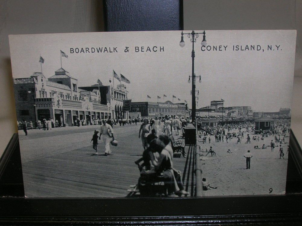 Vintage Coney Island NY Postcard Boardwalk & Beach Black