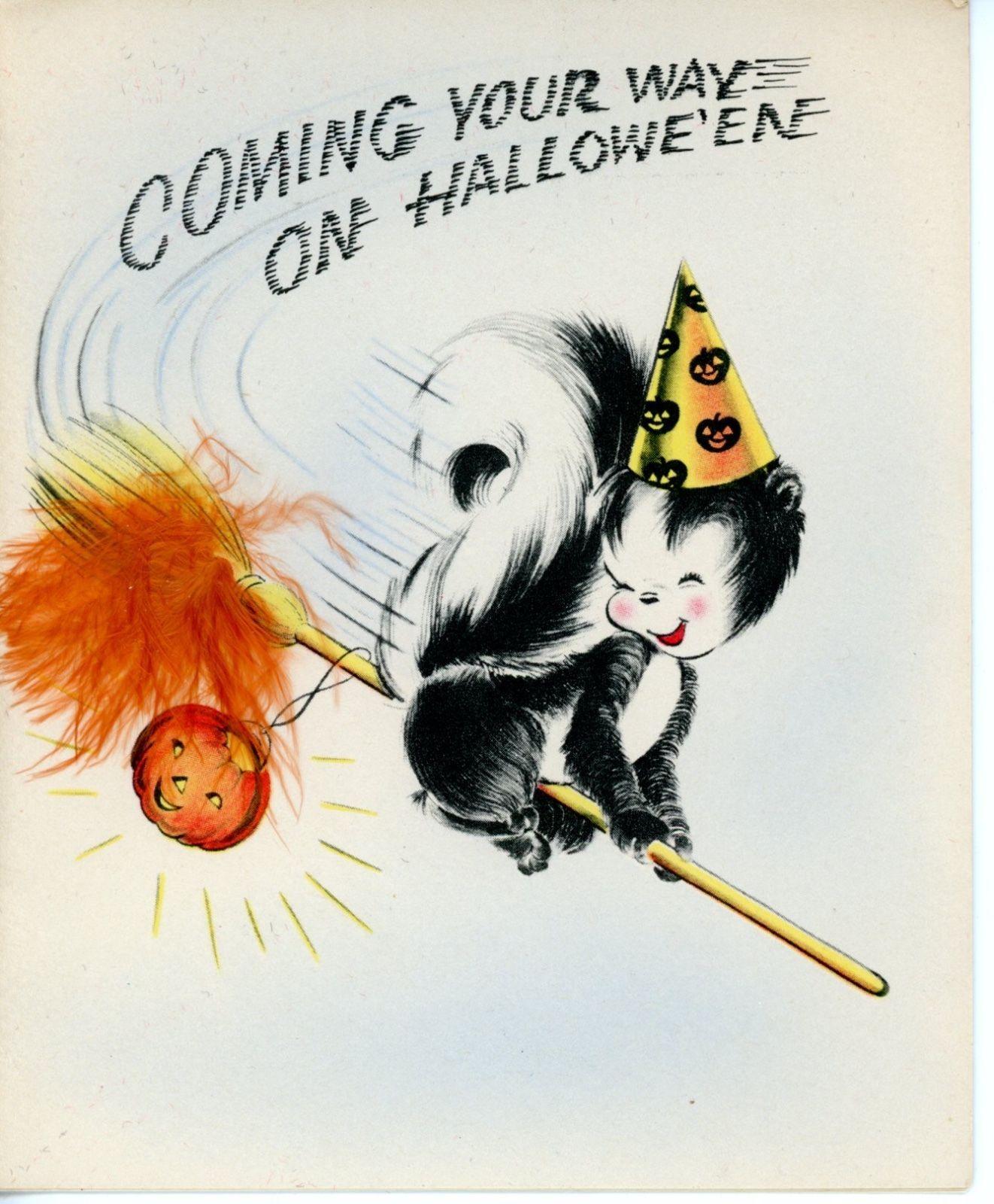 Vintage Norcross Birthday Halloween Greetiing Card Rosebud The Skunk 2072 FOR SALE O 2050 See
