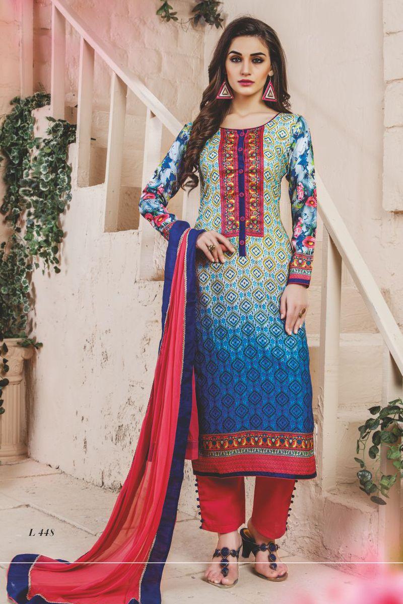 stylish funcional wear pasmina digital print blue dress