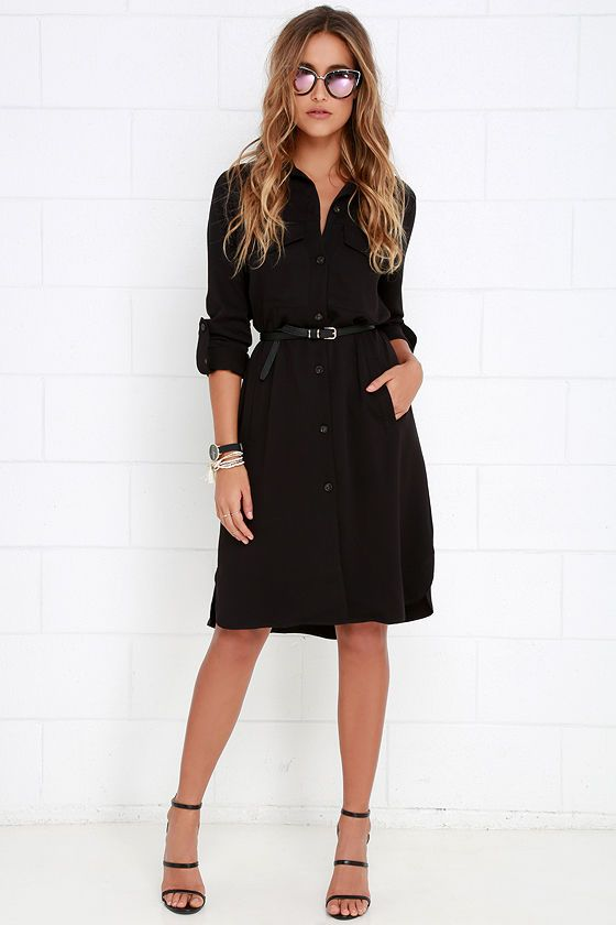 9eba9126932 Be known for always styling the best of the best when you have the Chic  Repertoire Black Shirt Dress! Cute and classic medium-weight woven shift  dress ...