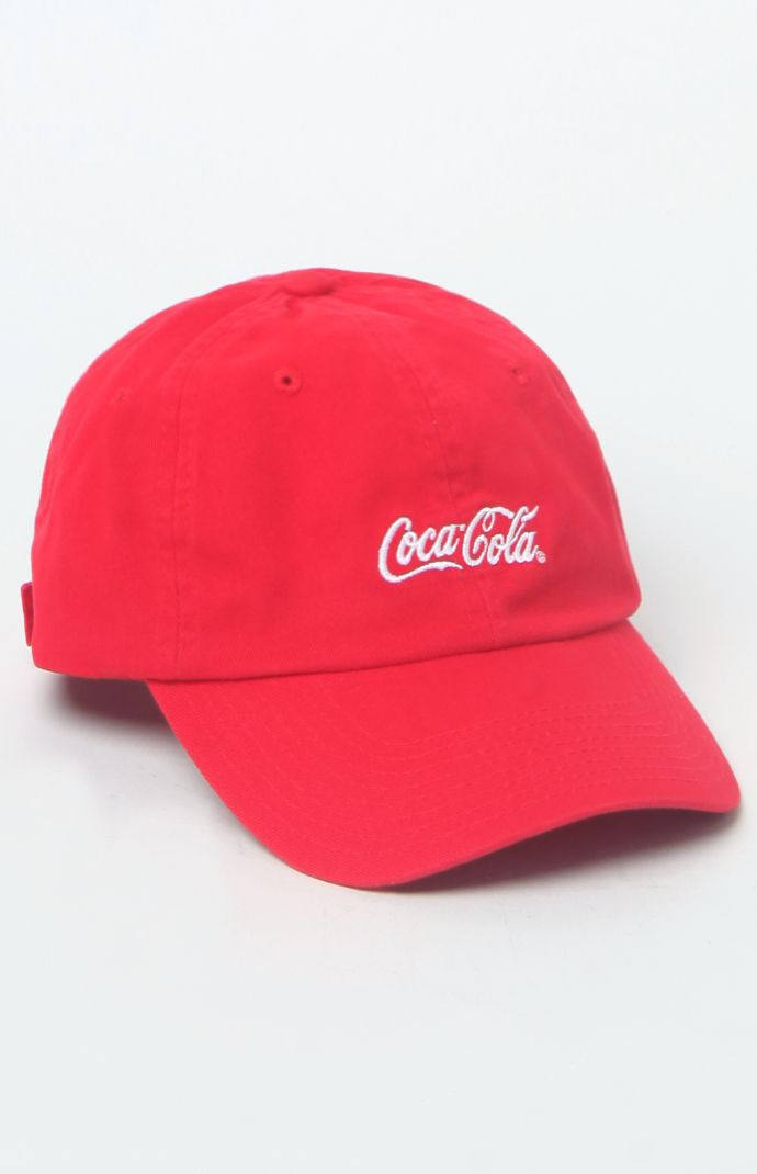 Hooked on x Coca-Cola Script Strapback Dad Hat that I found on the PacSun  App f2f027889cc