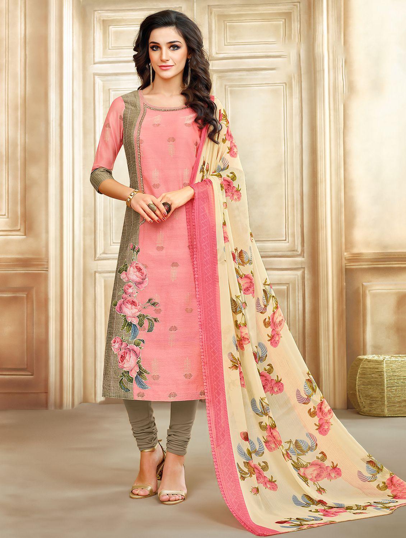 c2ad46fe4da2  letest  hits  under 1000 -  DURGA PUJA  Ratnavati  Chanderi  Cotton   Floral  Print  Semi-stitched  Salwar  Suit  Dupatta  Material  flipkart  dress