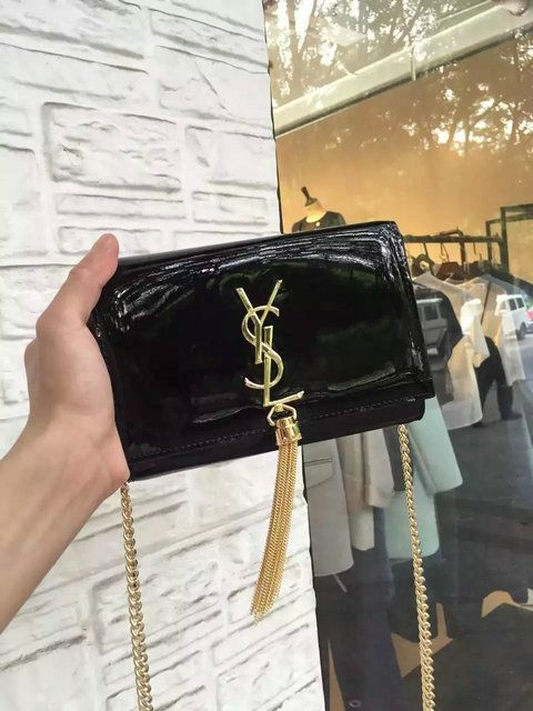 ba73966a14 2016 Cheap YSL Small Patent Cassandre Tassel Shoulder Bag in Black ...