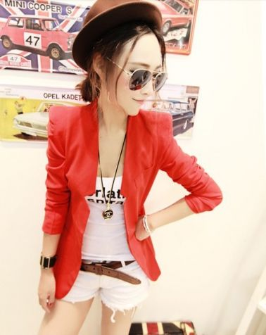 Solid Notched Women Blazer Coat Red on BuyTrends.com, only price $21.50
