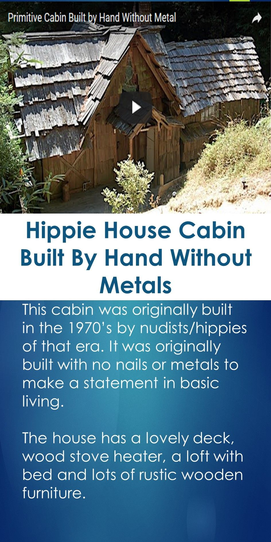 Hippie House Cabin Built By Hand Without Metals – Hippie House Plans