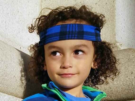 437c8f3a614 Buffalo Plaid Headband for Boys   Blue Headband   Boy Headband   Tie on  Headband   Toddler Boy Hair