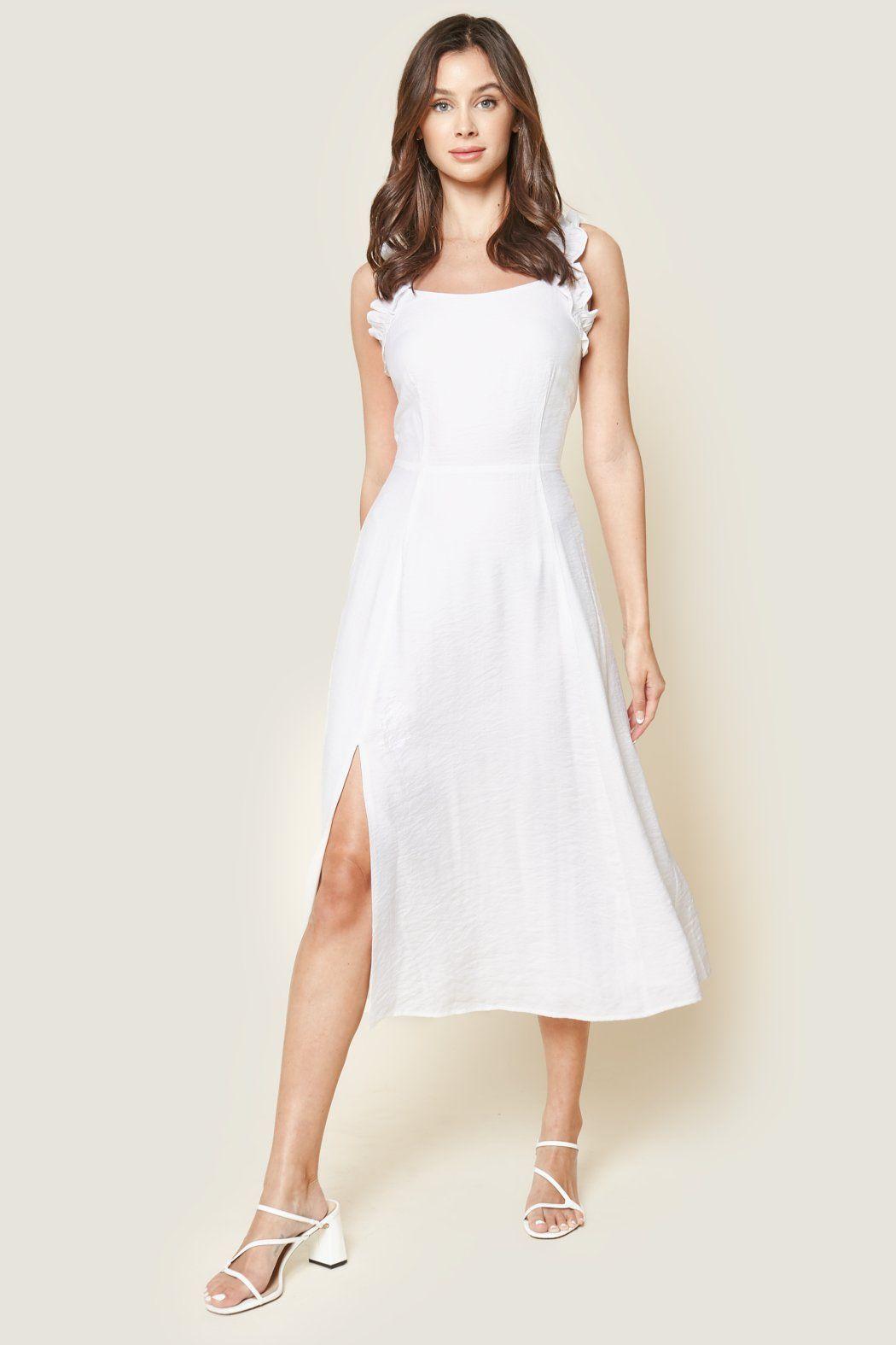 Angelic Ruffled Midi Dress In 2021 White Dresses Graduation White Summer Midi Dress Midi Ruffle Dress [ 1575 x 1050 Pixel ]