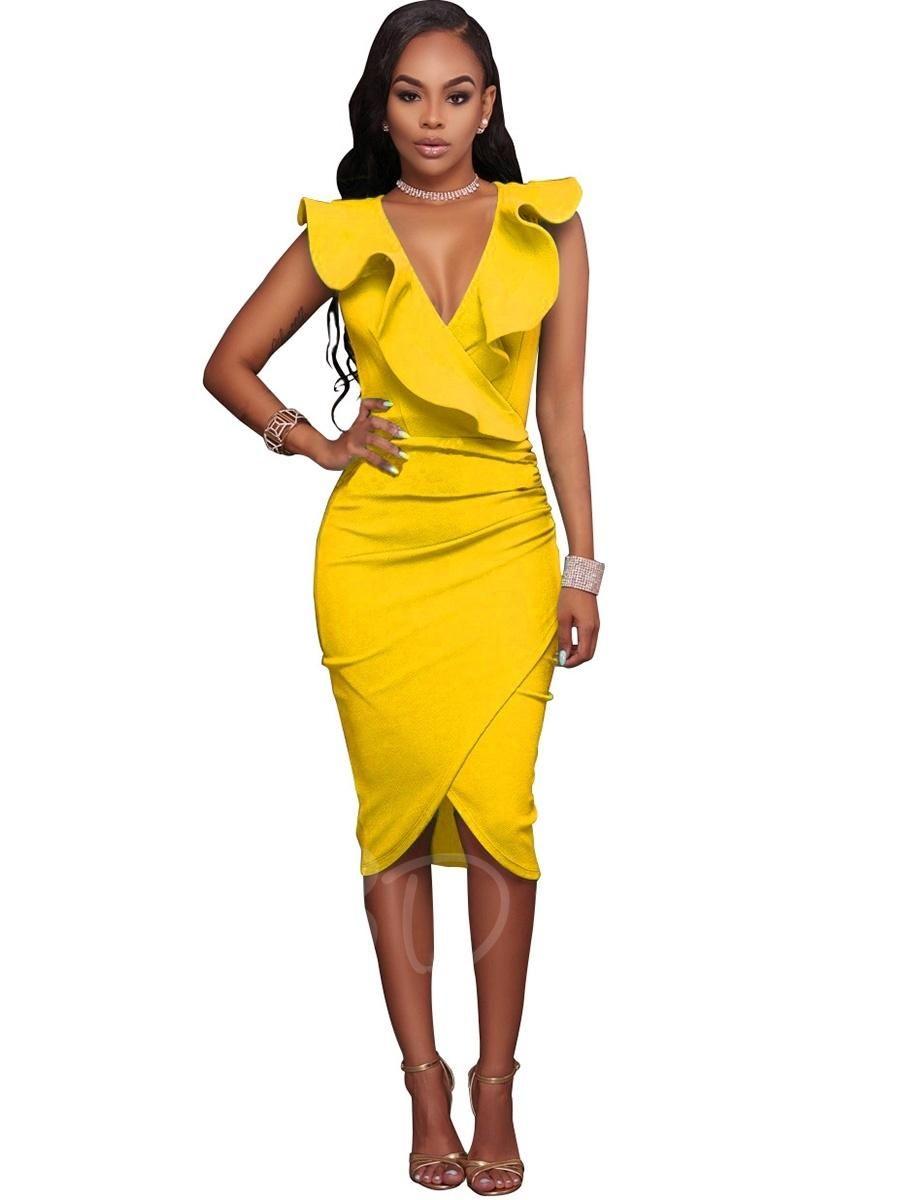Yellow dress knee length  TBDress  TBDress Deep V Neck Ruffle Falbala Womens Party Dress