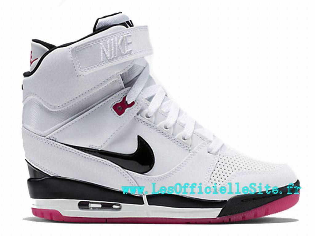 new concept 32b66 635aa Officiel Nike Air Revolution Sky Hi GS Chaussure Montante Nike Pas Cher Pour  Femme Blanc Fireberry-Pink Pow-Noir 599410-103