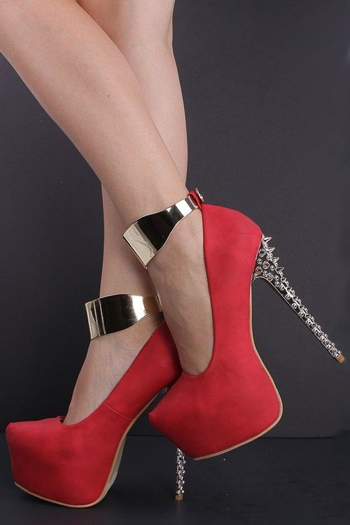 Sexy Red High Heels - Qu Heel