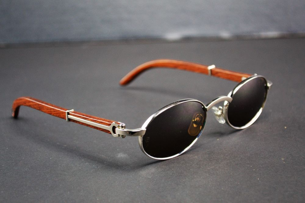 2769a129be37 Auth Cartier C Decor Bubinga Wood Gray Lens Metal Sunglasses 145 53 22   Cartier  Oval