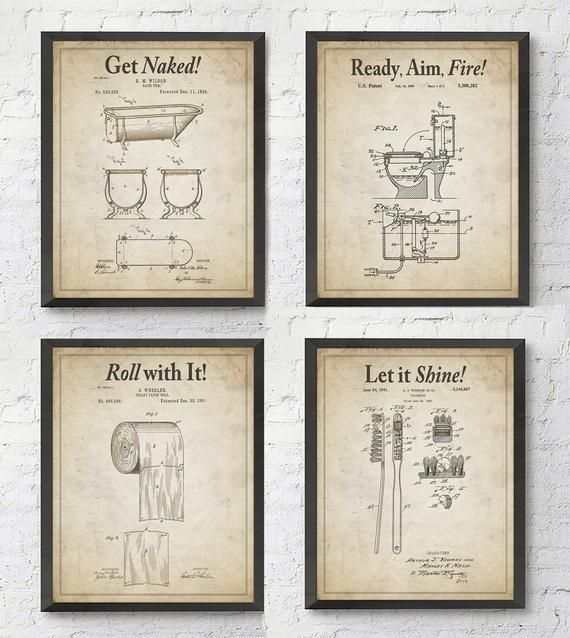 Bathroom Patent Wall Art Prints with Slogans Set of 4 ...