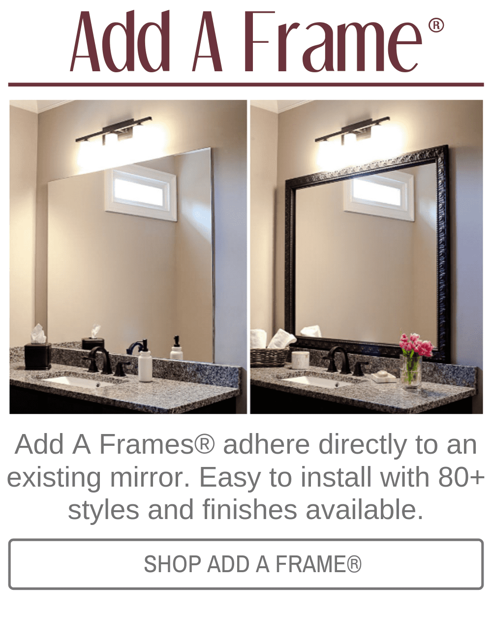 Add A Frame The Self Adhesive Frame For Mirrors Stick On Frames Bathroom Mirror Frame Mirror Frame Kits Large Bathroom Mirrors
